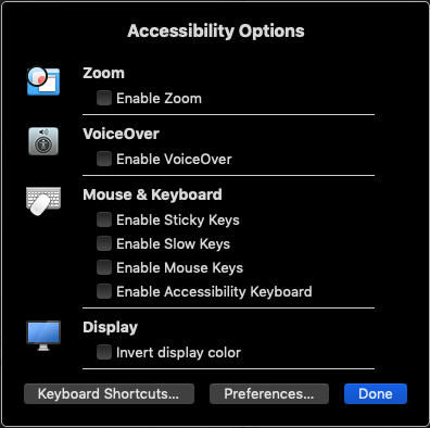 Mac Accessibility Options Window
