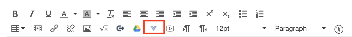 bluBlue down arrow (looks like a V) on the Canvas content editor toolbar