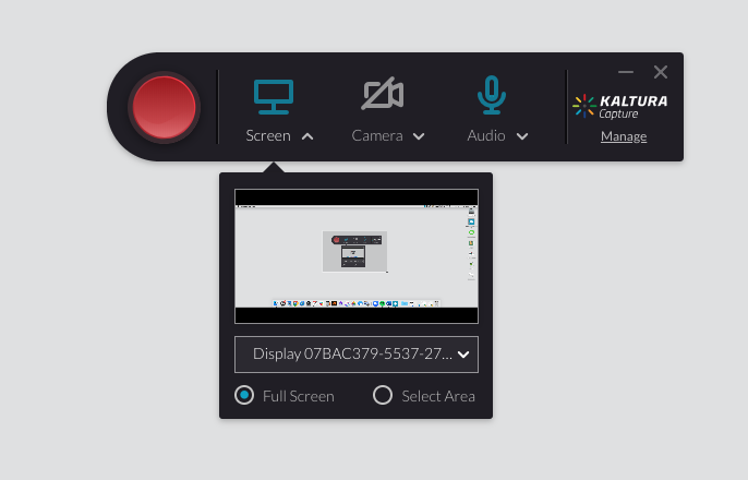 Kaltura Capture Recorder Toolbar