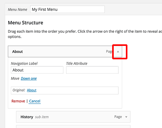 Expand a menu item to edit or even remove it
